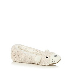 Lounge & Sleep - Cream cosy bear ballet slippers