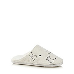 Lounge & Sleep - Cream embroidered dog mule slippers