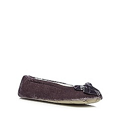 J by Jasper Conran - Designer dark grey velvet bow slippers