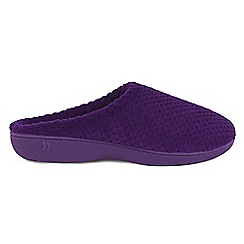 Isotoner - Purple 'Popcorn' mule slippers