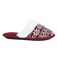 Totes - Dark Red 'Fairisle' mule slippers
