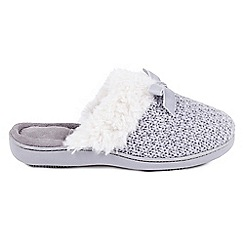 Totes - Grey 'Sparkle' mule slippers