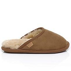 Just Sheepskin - Tan 'Shaftesbury' mule slippers