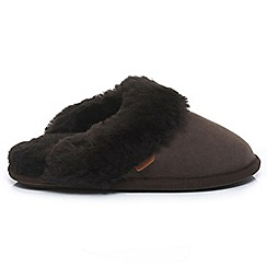 Just Sheepskin - Chocolate 'Duchess' mule slippers