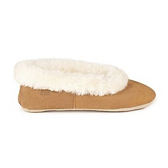 Just Sheepskin - Tan 'Queen' faux fur cuff ballet slippers