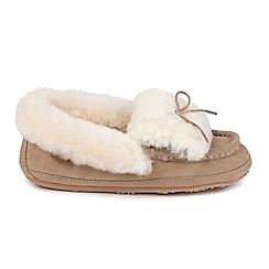 Just Sheepskin - Beige 'Avondale Mocassin' slippers
