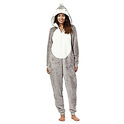 Lounge & Sleep - Tall grey fleece penguin onesie