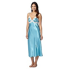 Presence - Turquoise satin lace long nightdress