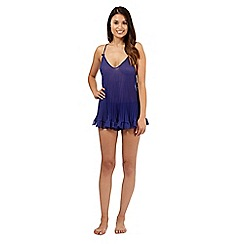 Presence - Dark blue pleated camisole and shorts set