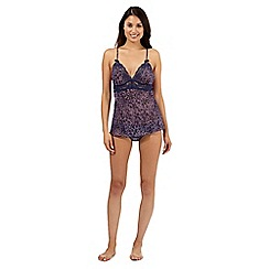 Presence - Navy animal print camisole and briefs set
