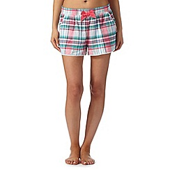 Mantaray - Pink vest and checked shorts pyjama set