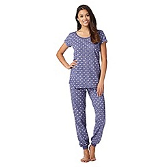 Mantaray - Blue bird print two piece pyjama set