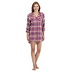 Mantaray - Purple checked long sleeved night shirt
