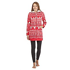 Mantaray - Dark pink ski patterned lounge hoodie