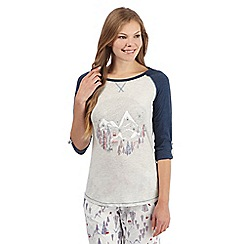 Mantaray - Grey marl ski print pyjama top