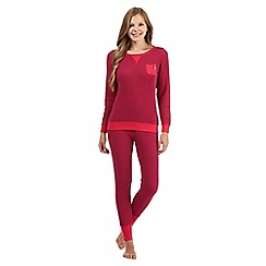Mantaray - Red waffle textured twosie pyjama set