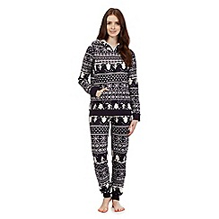 Mantaray - Navy Fair Isle hoodie and bottoms pyjama set