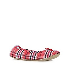 Lounge & Sleep - Red checked ballet slippers