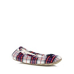 Lounge & Sleep - Navy checked ballet slippers