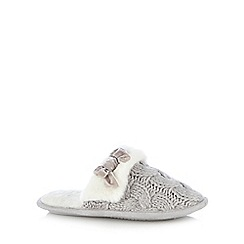 Lounge & Sleep - Light grey cable knit mule slippers