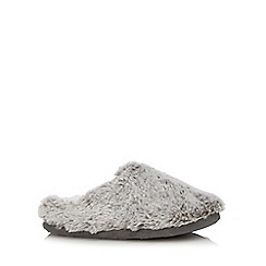 Lounge & Sleep - Grey faux fur mule slippers