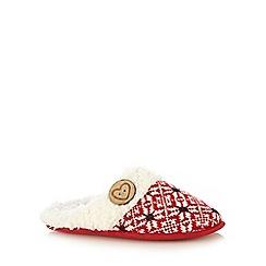 Lounge & Sleep - Red snowflake knitted mule slippers
