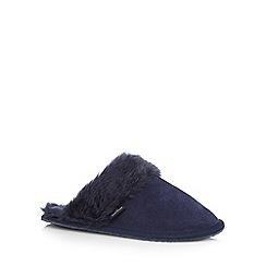 RJR.John Rocha - Navy suede fur cuff mule slippers