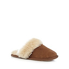 RJR.John Rocha - Tan faux fur mule slippers