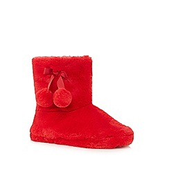 Lounge & Sleep - Red faux fur slipper boots