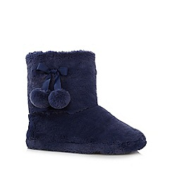 Lounge & Sleep - Navy faux fur slipper boots