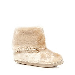 Lounge & Sleep - Gold faux fur slipper boots