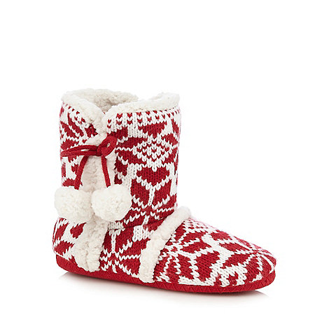 Lounge & Sleep - Red knitted slipper boots