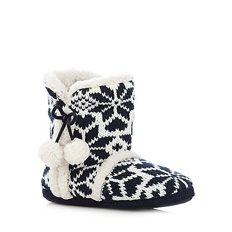 Lounge & Sleep - Navy fleece lined snowflake knit slipper boots