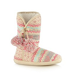 Lounge & Sleep - Pink jacquard knit slipper boots