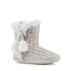 Lounge & Sleep - Grey metallic knit slipper boots