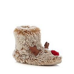 Lounge & Sleep - Brown reindeer slipper boots