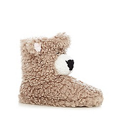 Lounge & Sleep - Brown fleece lined bear slipper boots