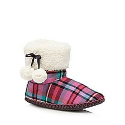 Presence - Dark pink checked slipper boots