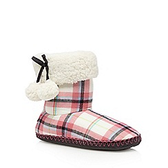 Iris & Edie - Pink checked slipper boots