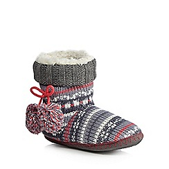 Iris & Edie - Dark grey Fair Isle slipper boots