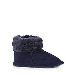 RJR.John Rocha - Navy suede faux fur cuff slipper boots