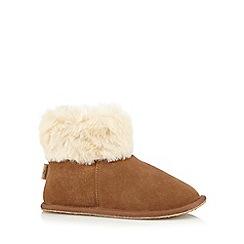 RJR.John Rocha - Tan suede faux fur cuff slipper boots
