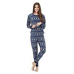 Lounge & Sleep - Navy Fair Isle jumper and bottoms pyjama set