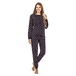 Lounge & Sleep - Purple star print fleece pyjamas set