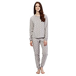 Lounge & Sleep - Grey star jumper and bottoms pyjama set