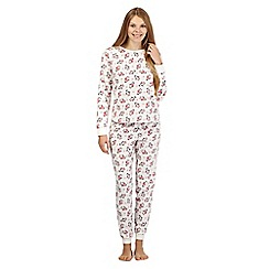 Lounge & Sleep - Cream penguin print fleece pyjama set