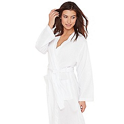 Lounge & Sleep - White waffle effect dressing gown