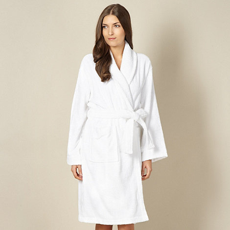 Lounge & Sleep - White 100% cotton towelling dressing gown