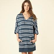 Dark blue striped hooded sleep top
