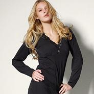 Black 'Gracie' long sleeve fuller bust pyjama top